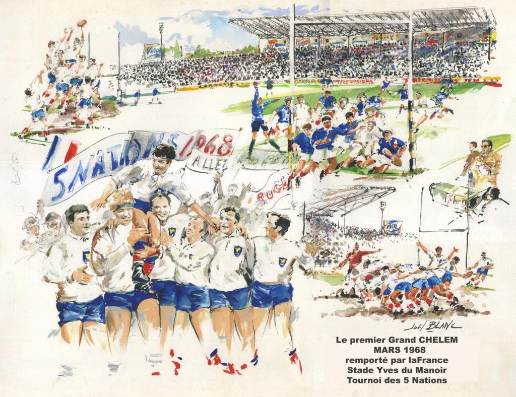 """Mars 1968  au stade mythique Yves du Manoir  il y avait Roger Couderc qui commentait : """"allez les Petits """"  La France remportait le Grand Chelem"""